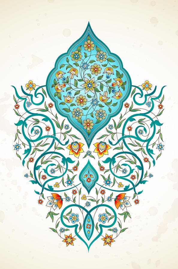 Vector decor, arabesque in Eastern style. Vector element, arabesque for design template. Luxury ornament in Eastern style. Turquoise floral illustration. Ornate vector illustration