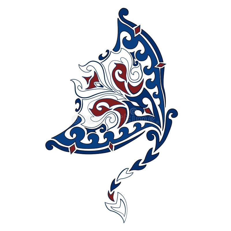 Vector decoratief beeld van de mantastraal in de stijl van het Hawaiiaanse nationale patroon Hawaiiaanse tatoegering stock illustratie