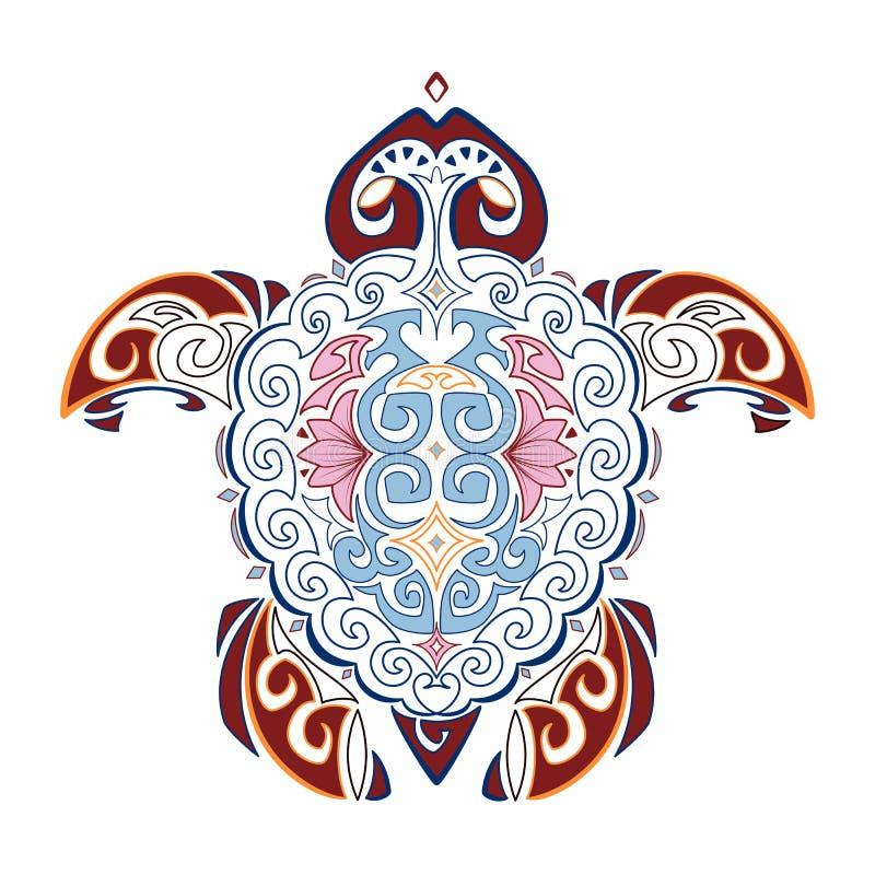 Vector decoratief beeld van de schildpad in de stijl van het Hawaiiaanse nationale patroon Hawaiiaanse tatoegering vector illustratie