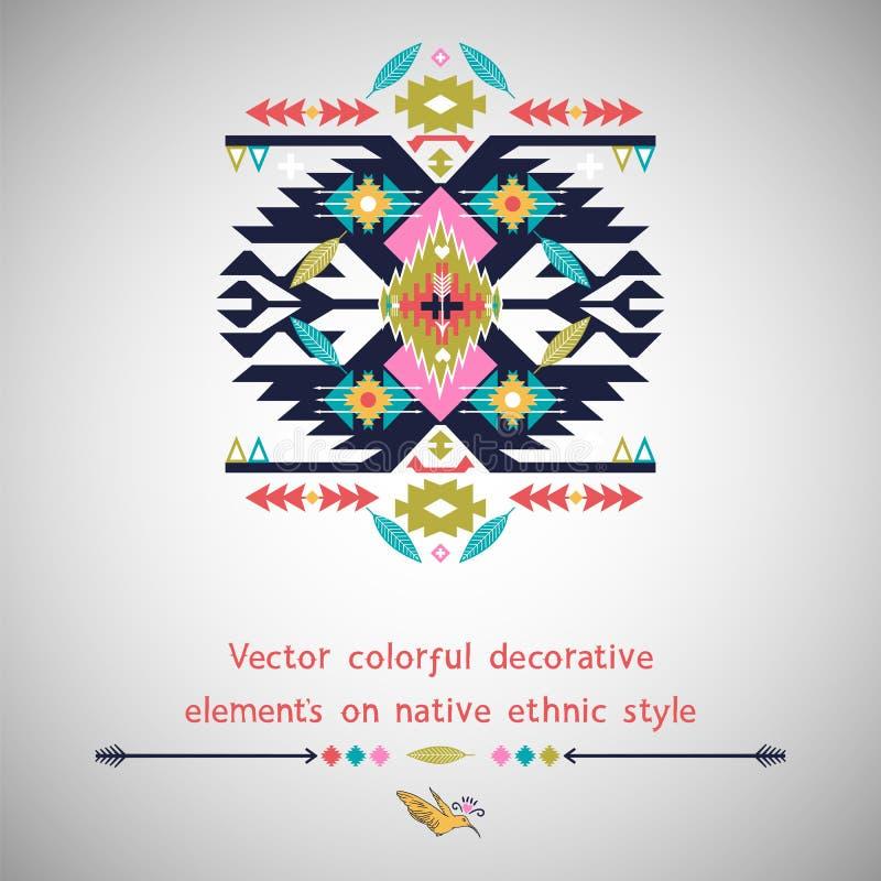 Vector decoratief element op inheemse etnische stijl vector illustratie