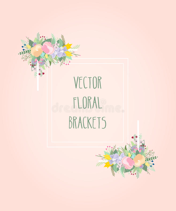 Vector decoratief frame Elegant bloemenelement voor ontwerpmalplaatje, met plaats voor tekst royalty-vrije illustratie