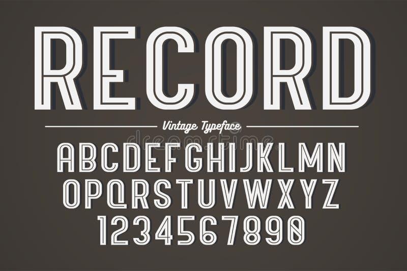 Vector decoratief gewaagd doopvontontwerp, alfabet, lettersoort, typografie stock illustratie