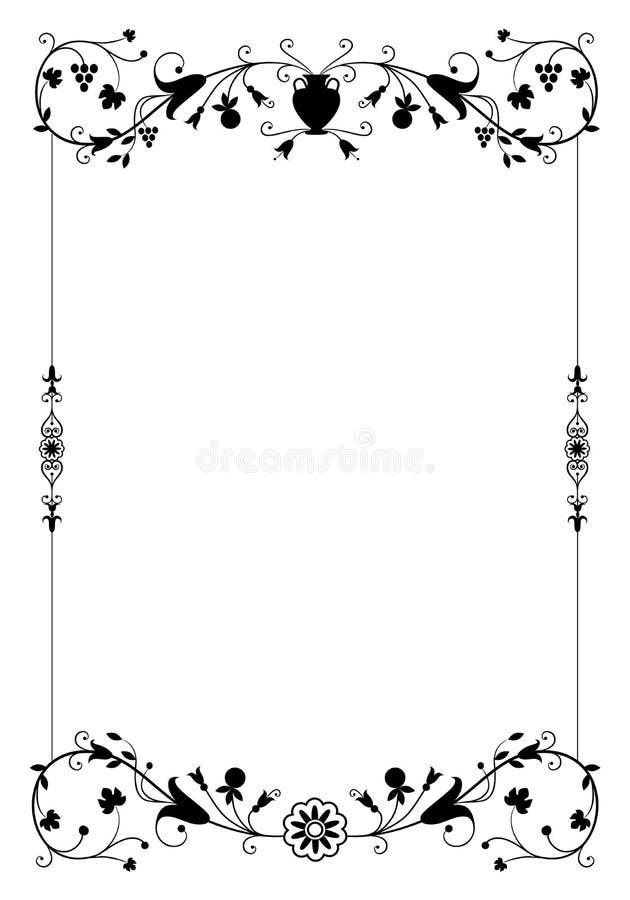 Vector decoratief kader in uitstekende stijl met bloemen sierelementen royalty-vrije illustratie