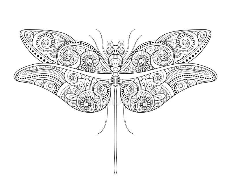 Vector Decoratieve Overladen Libel stock illustratie
