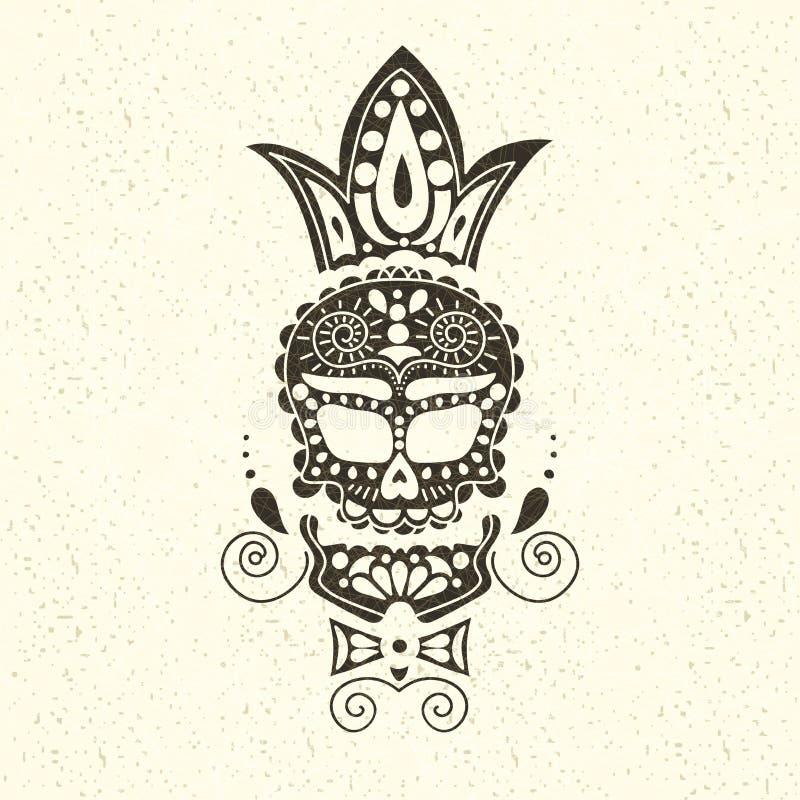 Vector decoratieve schedel Dag van de Doden in Mexico De schedel op een lichte achtergrond voor Halloween Traditioneel, godsdiens royalty-vrije illustratie