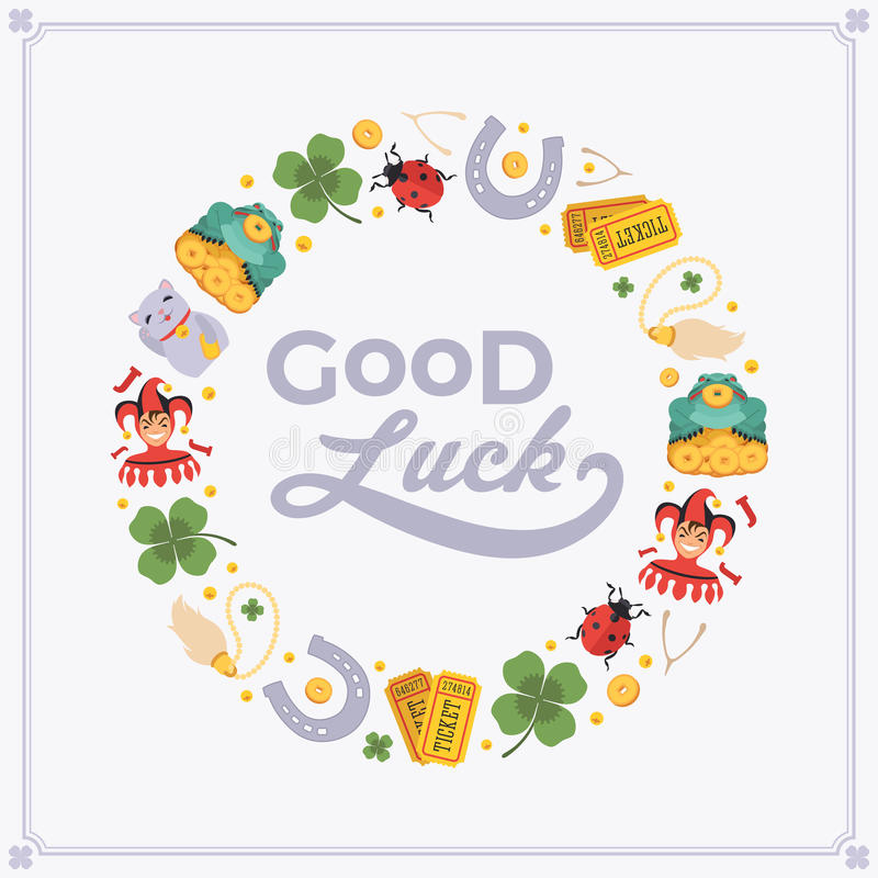 Download Vector Decorating Design Made Of Lucky Charms, And Stock Vector    Illustration Of Luck  Good Luck Card Template