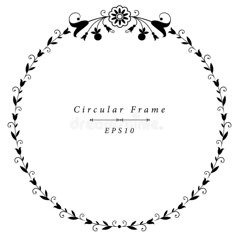 Vector decorative circular frame vintage style floral ornamental motifs: lilies and tulips royalty free illustration