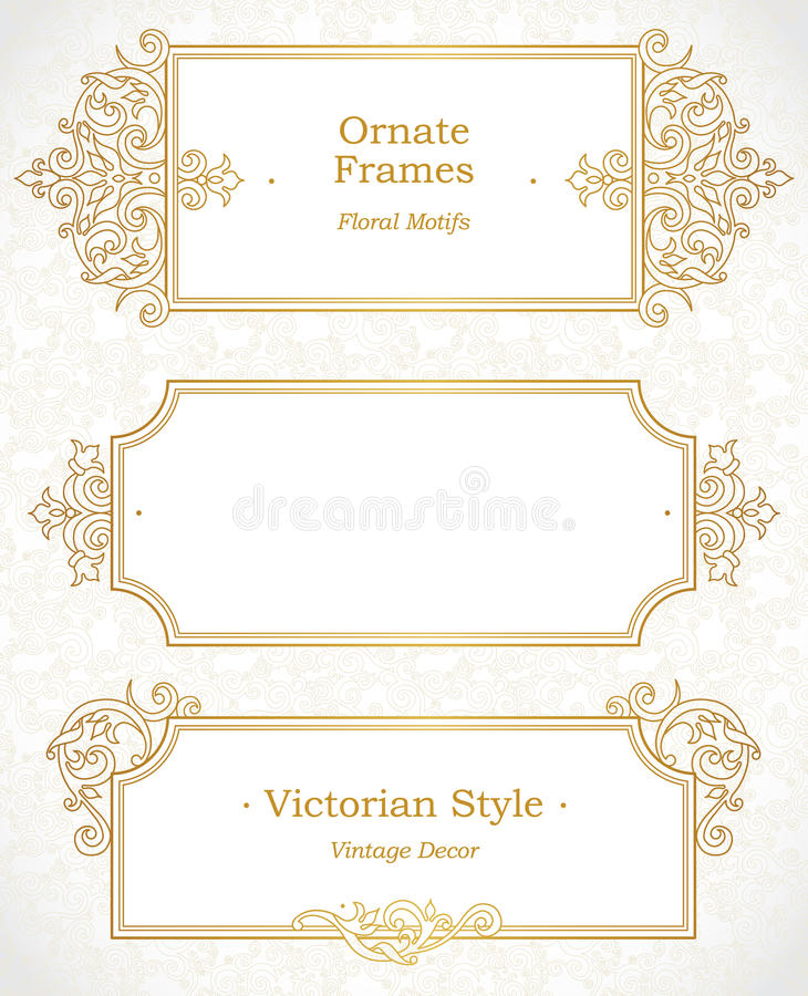 Vector decorative frame in Victorian style. stock illustration