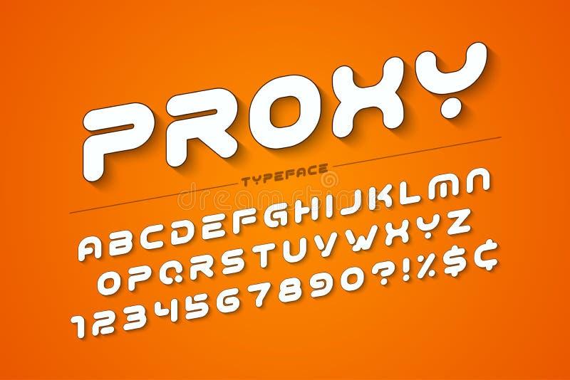 Vector decorative futuristic font design, alphabet, typeface, ty. Pography Vector illustration stock illustration