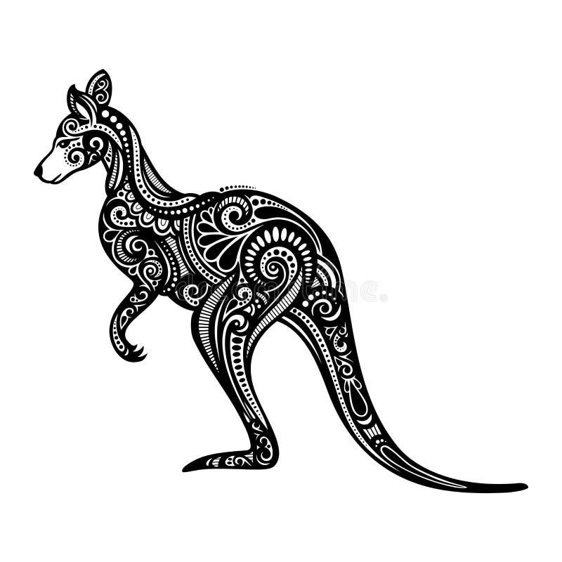 Vector Decorative Kangaroo. Patterned design stock illustration