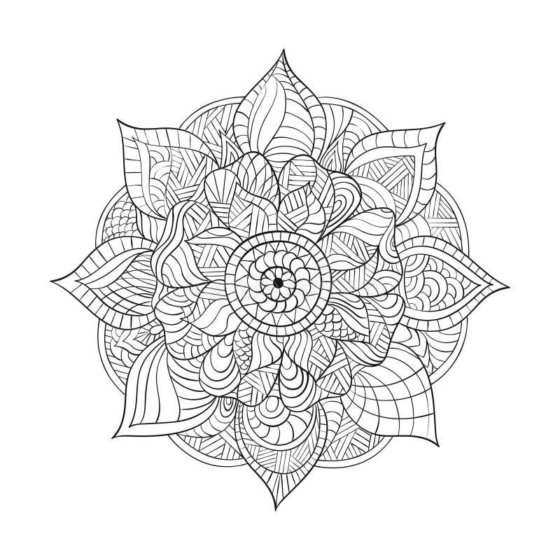 Vector decorative Mandala for adults coloring books. Ethnic elements. Hand drawn background. Indian motifs. Zentagle inspired monochrome illustration. Wavy royalty free illustration