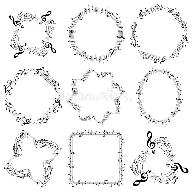 Vector decorative music frames with notes - oval square round stock illustration