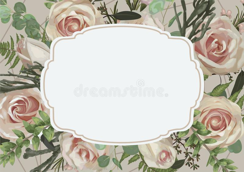 Vector decorative retro frame with flowers, leaves of a forest fern, boxwood, brunia and eucalyptus branches on a white background. Pink rose. Suitable for vector illustration