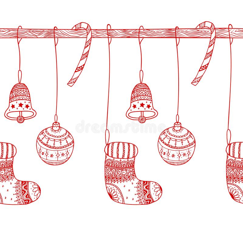 Vector decorative seamless border of Christmas symbols on seamless wooden stick - candy cane, tree ball toy, sock, christmas bell vector illustration