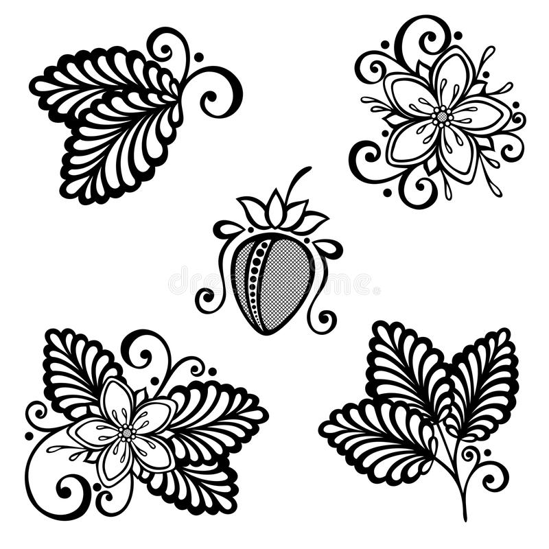 Vector Decorative Strawberry Bush. Set royalty free illustration