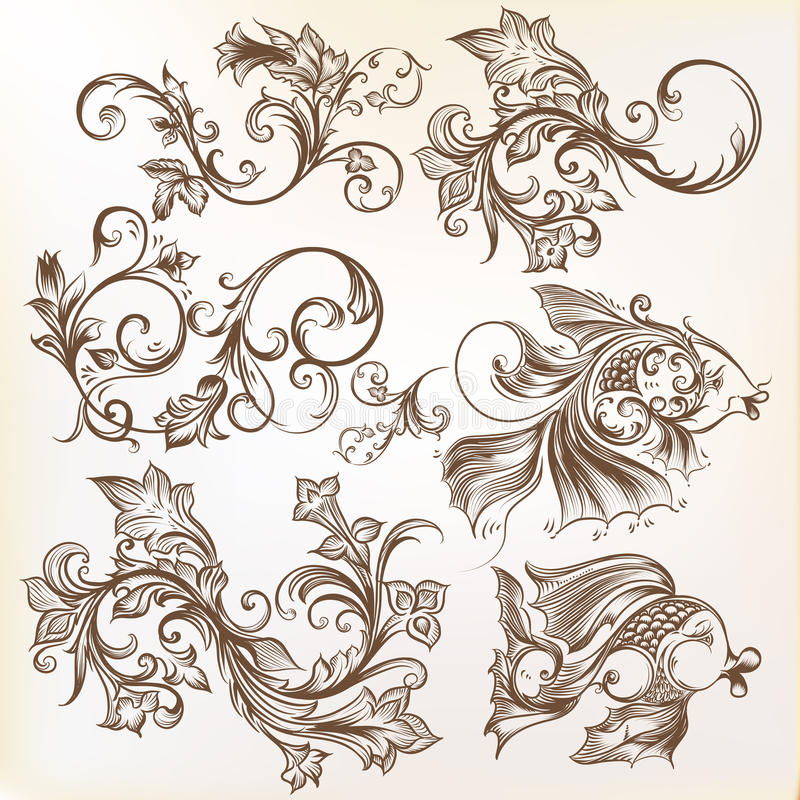 Vector decorative swirl ornaments and fishes for design stock illustration