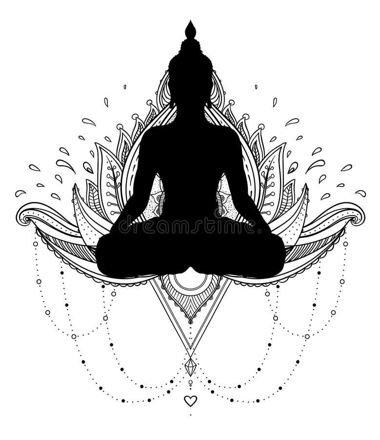 Vector dekorative Lotus-Blume mit dem Schattenbild von Buddha, ethnisch stock abbildung