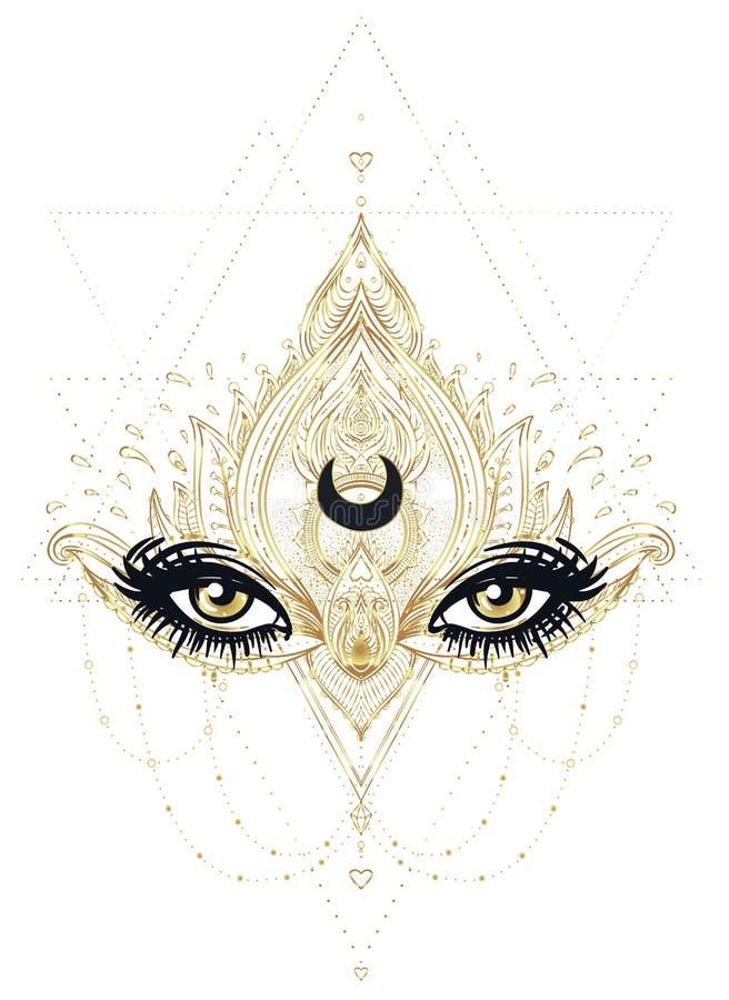 Vector dekorative Lotus-Blume und gesamt-sehen Auge, kopierter Inder stock abbildung