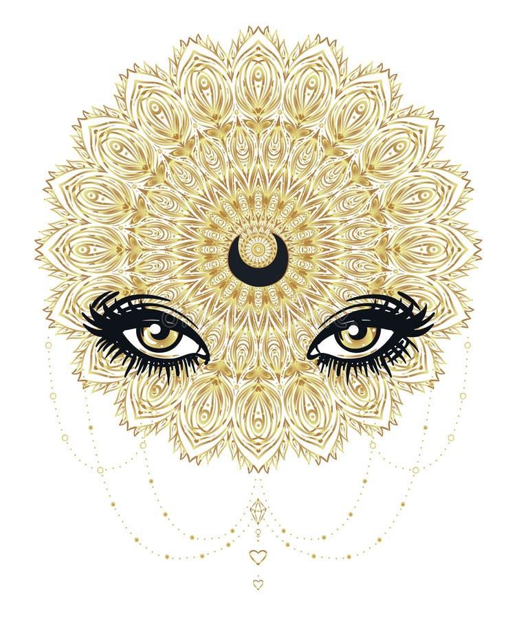 Vector dekorative Lotus-Blume und gesamt-sehen Auge, kopierter Inder vektor abbildung
