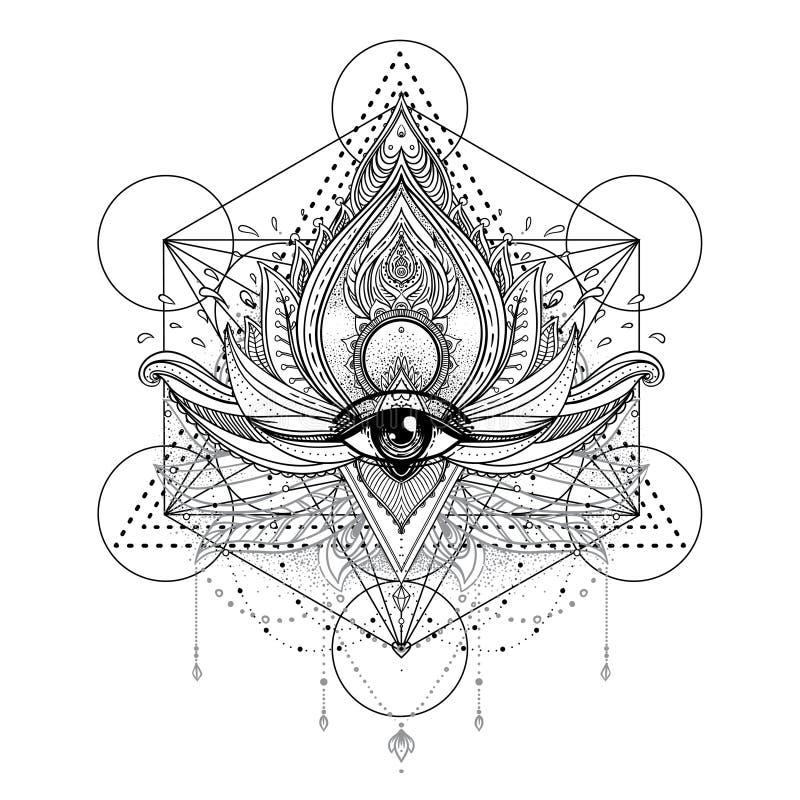 Vector dekorative Lotus-Blume und gesamt-sehen Auge, kopierter Inder Paisley Hand gezeichnete Abbildung Einladungselement Tätowie lizenzfreie abbildung