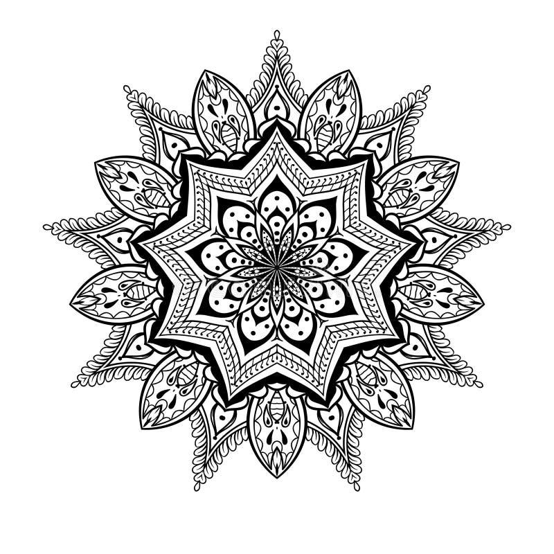Vector dekorative Lotus-Mandala, ethnische zentangled Hennastrauchtätowierung vektor abbildung