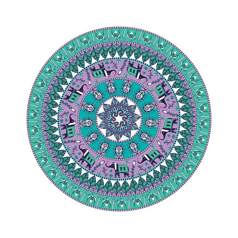 Vector dekorative Mandala, Stammes- Muster mit vielen Details stock abbildung