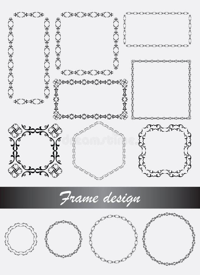 Vector dekorative Rahmen und Grenzen in der unterschiedlichen Form stockbilder