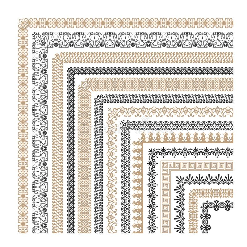 Vector dekorative Rahmengrenzen der nahtlosen Weinlese mit Ecken Sammlung lizenzfreie abbildung