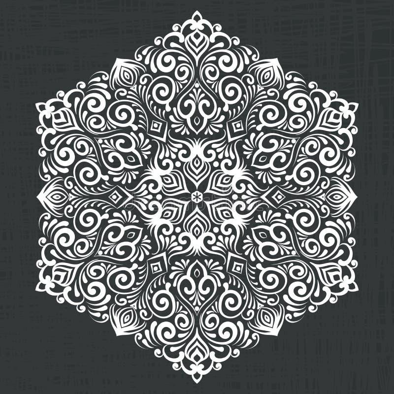 Vector dekorative runde Spitze mit Damast- und Arabeskenelementen Mehndi-Art Traditionelle Verzierung Orientes stock abbildung