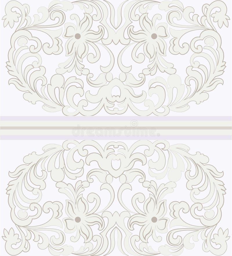 Vector dekorative Spitze der Weinlese mit Blumeneinladungskarte stock abbildung