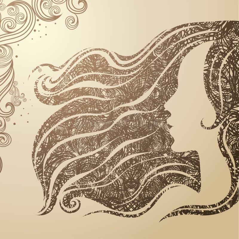 Vector dekorative Weinlesefrau der grunge Nahaufnahme lizenzfreie abbildung