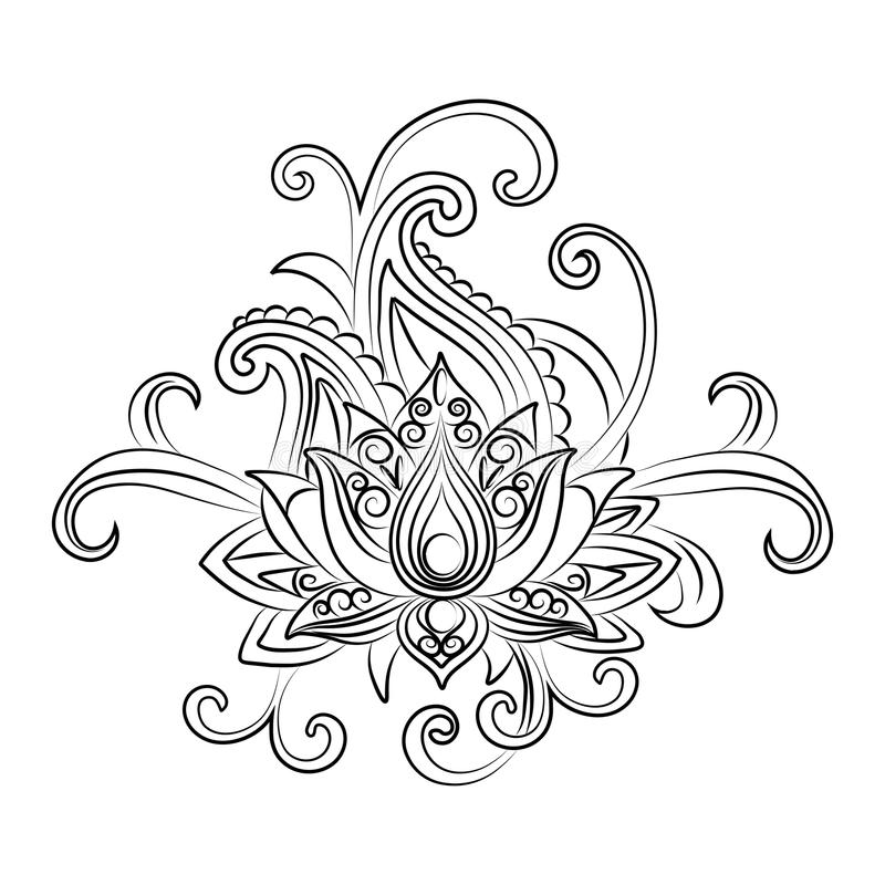 Vector dekoratives Lotus, ethnische zentangled Hennastrauchtätowierung lizenzfreie abbildung