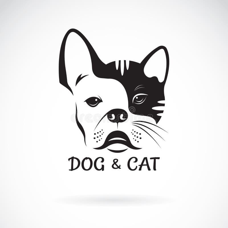 Vector del ?bulldog de la cara del perro y diseño de la cara del gato en un fondo blanco pet Animal Perro y logotipo o icono del  stock de ilustración
