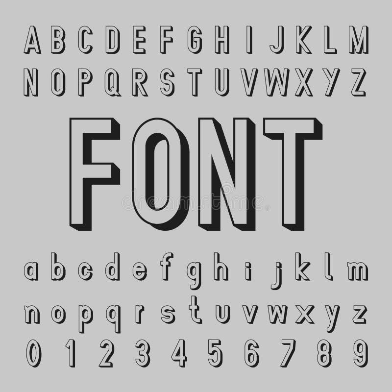 vector del alfabeto 3D y diseño de la fuente de la sombra imágenes de archivo libres de regalías