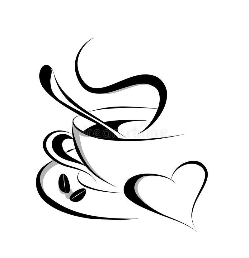 Vector del amor del café stock de ilustración