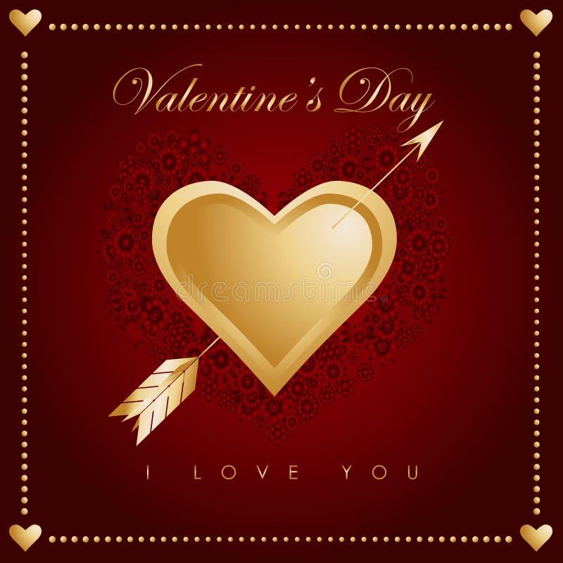 Vector del amor del corazón de la tarjeta del día de San Valentín stock de ilustración