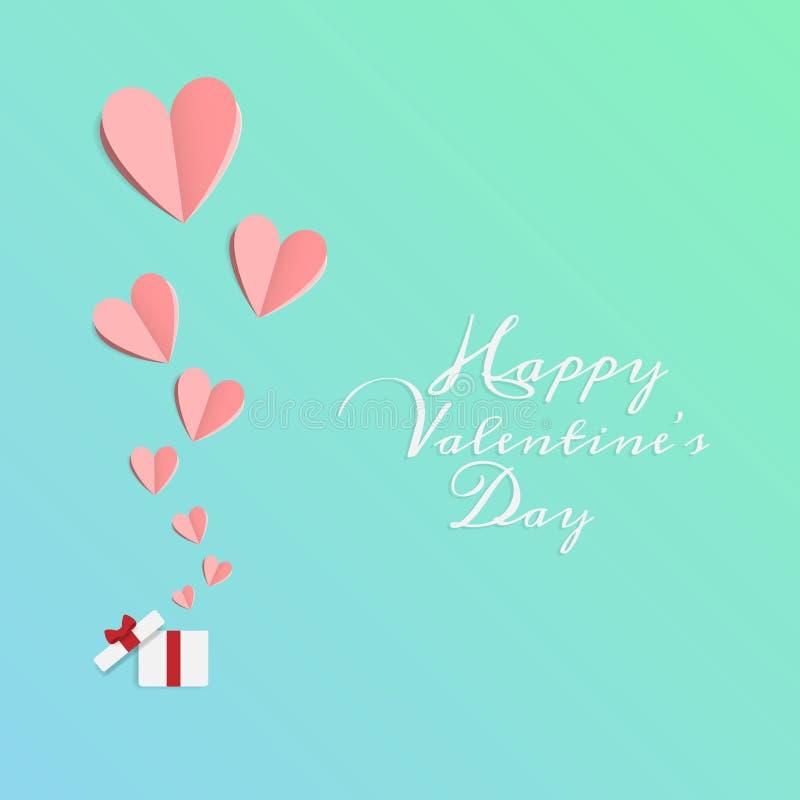 Vector del amor y de d?a de San Valent?n feliz la papiroflexia dise?a elementos que el papel del corte hizo la caja de regalo abi libre illustration