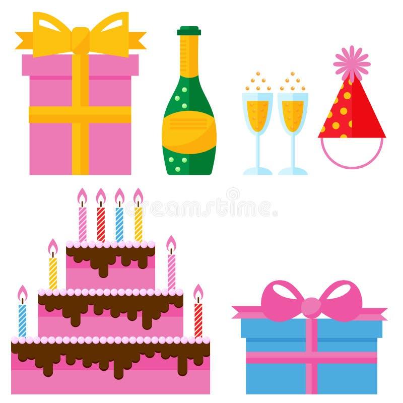 Vector del aniversario del evento de la decoración de la sorpresa del feliz cumpleaños de la celebración de los iconos del partid ilustración del vector