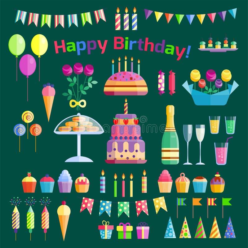 Vector del aniversario del evento del cóctel de la decoración de la sorpresa del feliz cumpleaños de la celebración de los iconos libre illustration