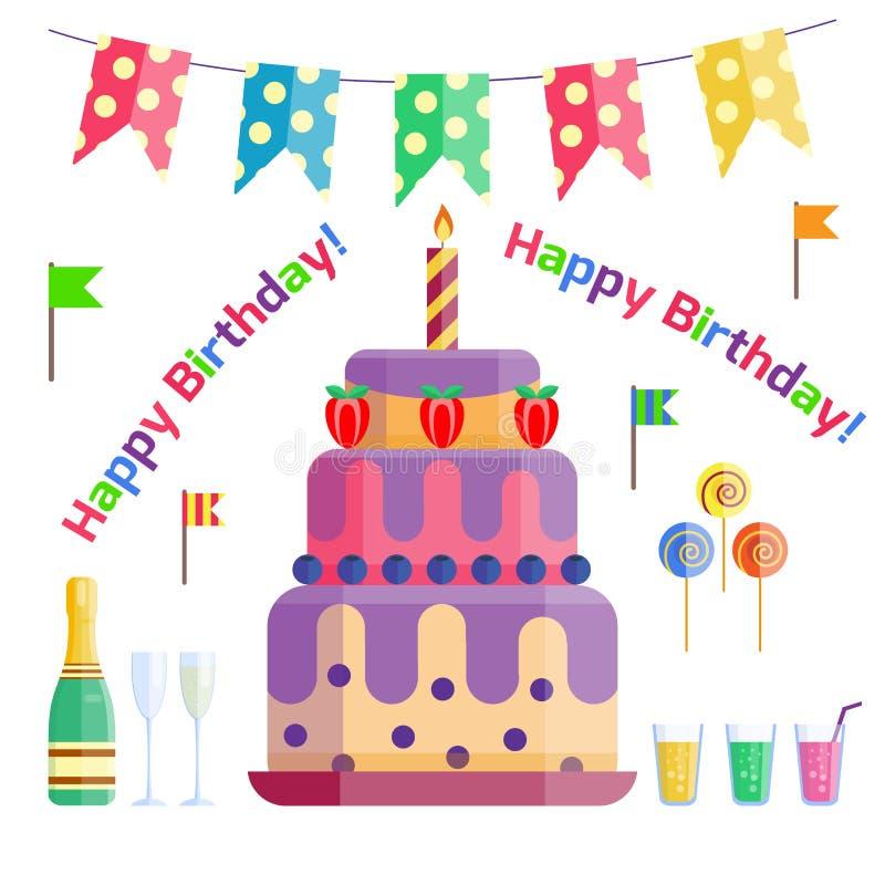 Vector del aniversario del evento del cóctel de la decoración de la sorpresa del feliz cumpleaños de la celebración de los iconos stock de ilustración