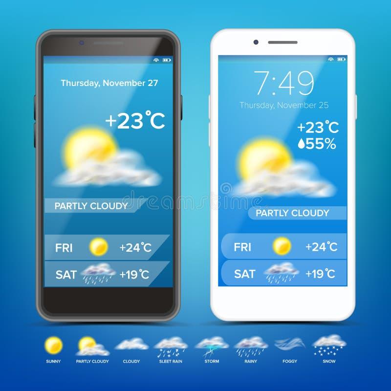 Vector del App de la previsión metereológica Smartphone realista Tiempo App con los iconos Resista a los iconos fijados Fondo par stock de ilustración