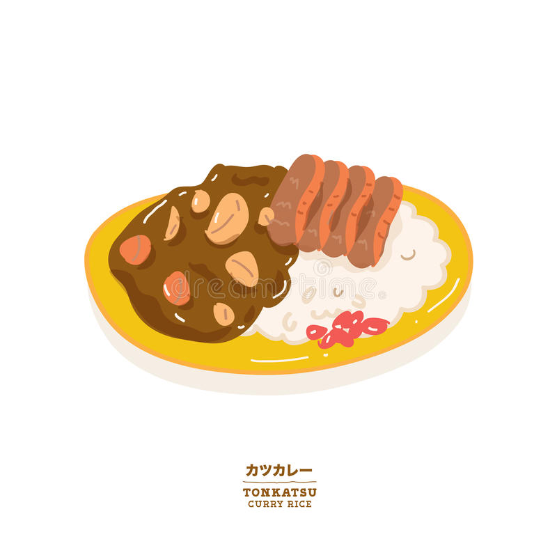 Vector del arroz de curry de Tonkatsu stock de ilustración