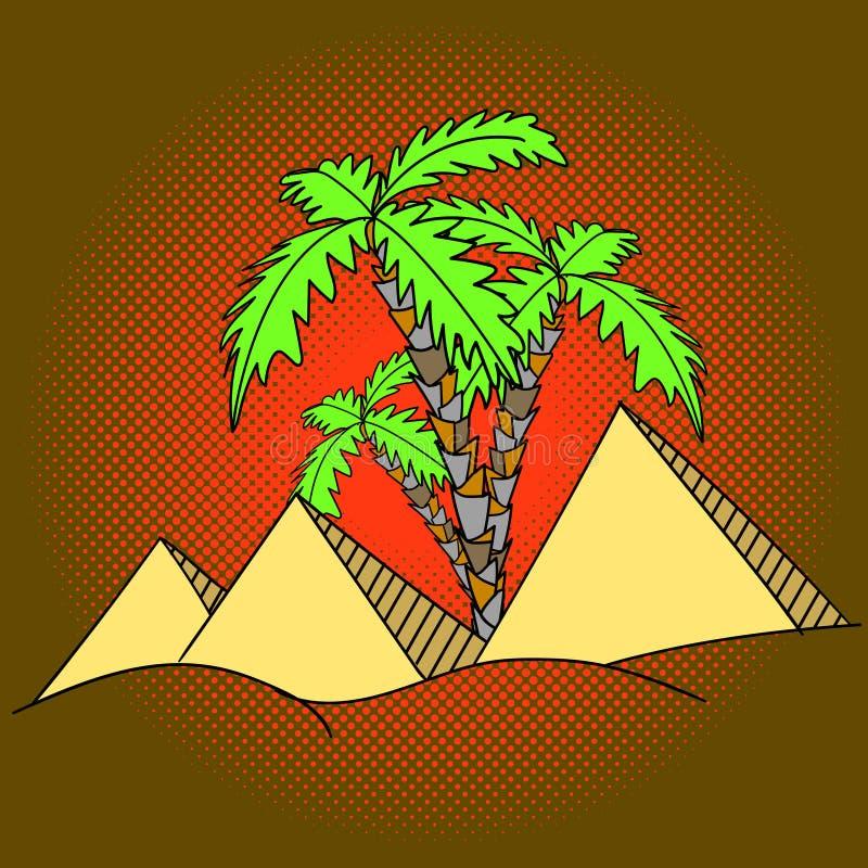 Vector del arte pop de las pirámides y de las palmeras de Egipto stock de ilustración
