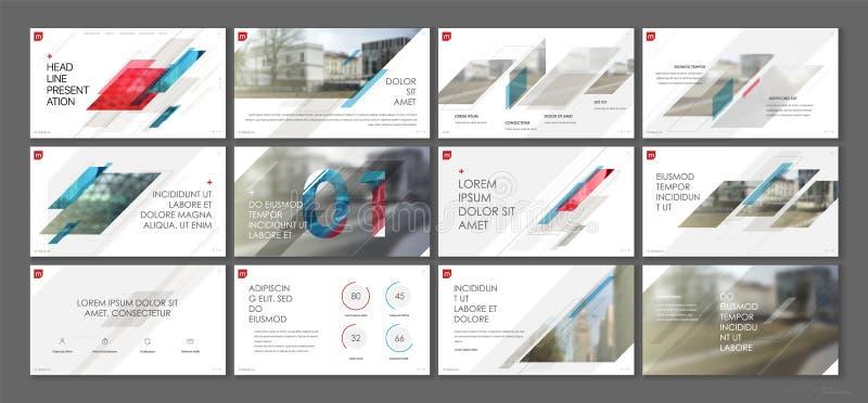 Vector del asunto de la presentación Template Elementos geométricos para las presentaciones de diapositivas en un fondo blanco stock de ilustración