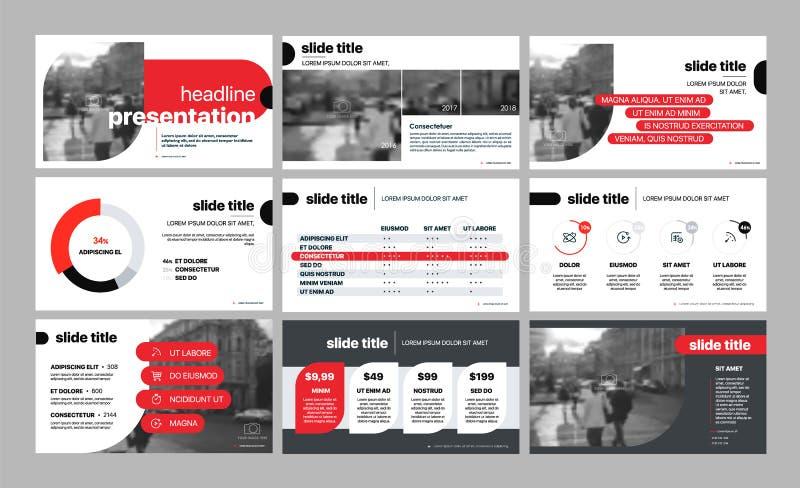 Vector del asunto de la presentación Template Elementos geométricos rojos para las presentaciones de diapositivas en un fondo bla libre illustration