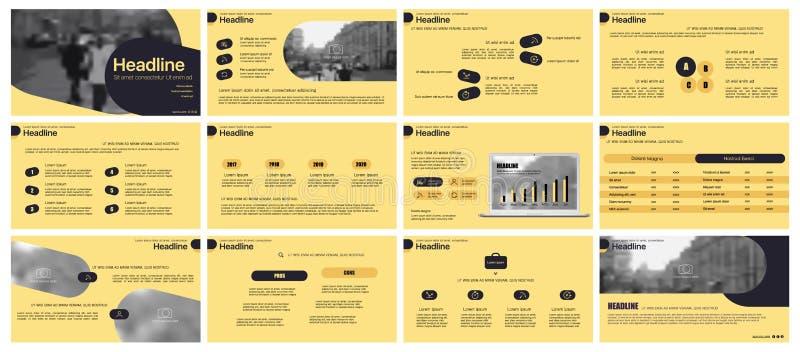 Vector del asunto de la presentación Template Elementos de neón de la pendiente para las presentaciones de diapositivas en un fon ilustración del vector