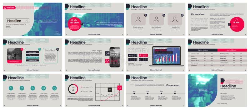 Vector del asunto de la presentación Template Elementos de neón de la pendiente para las presentaciones de diapositivas en un fon libre illustration