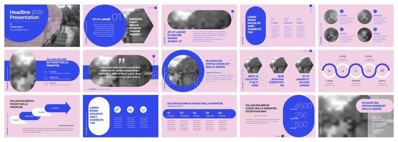 Vector del asunto de la presentación Template Elementos de neón de la pendiente para las presentaciones de diapositivas en un fon stock de ilustración