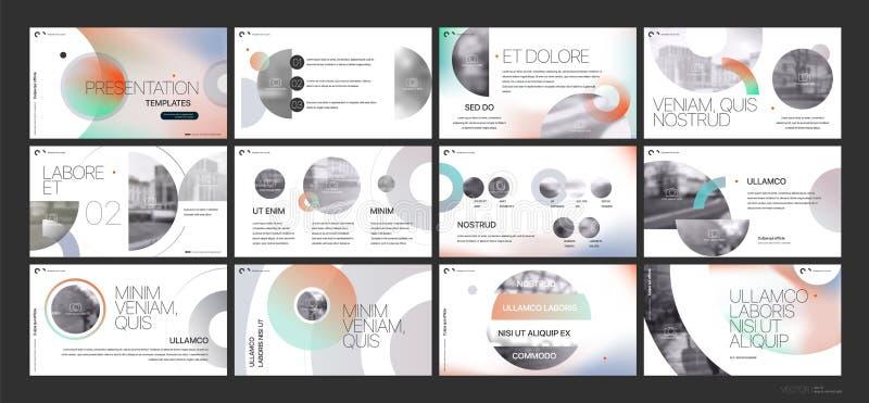 Vector del asunto de la presentación Template Elementos de la pendiente para las presentaciones de diapositivas en un fondo blanc stock de ilustración