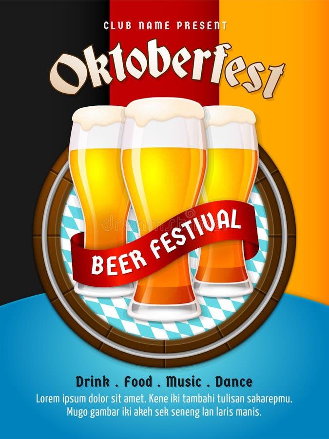 Vector del aviador de Oktoberfest Diseño del cartel del festival de la cerveza de Munich Grupo de ejemplo de cristal completo de  ilustración del vector